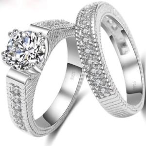 Women Bridal Set Eternity Ring Diamond Simulated Round Cut Wedding Ring Set