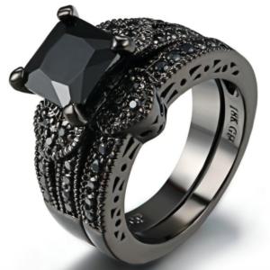 Black Gold Plated Zircon Stone Luxury Women's Ring Set