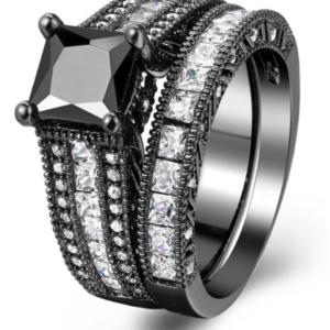 Black Zirconia Gold Filled Women Luxury Wedding Set