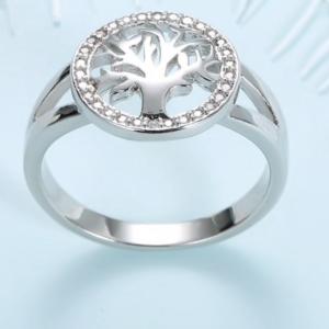 925 Sterling Silver Zircon Stone Tree of Life Women Ring