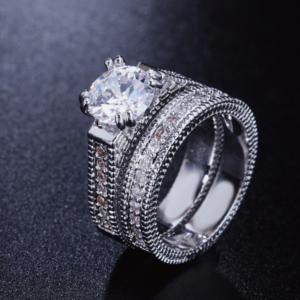 Women Wedding 2 Pc Ring Set Zirconia Stone Luxury Ring Set